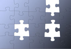 Blaues Puzzlespiel, fehlende Teile Lizenzfreies Stockbild