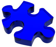 Blaues Puzzlespiel-Stück Lizenzfreies Stockfoto