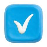 Blaues Quadrat überprüfte Taste. Ausschnittspfade Lizenzfreies Stockbild