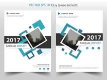 Blaues quadratisches Jahresbericht Broschüren-Broschüren-Fliegerschablonendesign, Bucheinband-Plandesign, abstrakte Geschäftsdars Stockbild