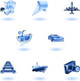 Blaues Reisen- und Tourismusikonenset Lizenzfreie Stockbilder