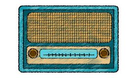 Blaues Retro-, Hippie, Antike, alt, antik, analog, Musikradio vom 60 ` s, 70 ` s gemalt in einer gestrichenen Art auf einem weiße vektor abbildung