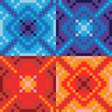 Blaues Rot der Musterpixelkunst Stockbilder