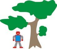 Blaues Rot-Grau Aron Robot Standing Near Tree-Modell-A1 lizenzfreie stockfotos