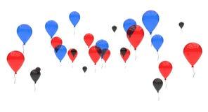Blaues Rot-und Schwarz-Ballone Stockfotos
