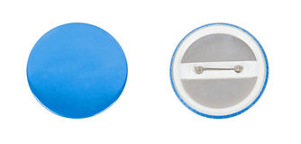 Blaues rundes badg mit der Front und der Rückseite Lizenzfreie Stockfotografie