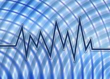 Blaues Schallwelle-Diagramm und Hintergrund Stockfoto