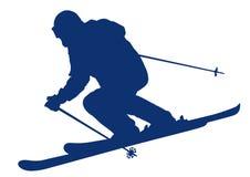 Blaues Schattenbild eines BergSkifahrers Lizenzfreie Stockfotografie