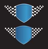 Blaues Schild mit dem Laufen des Zeichens auf dem Schwarzen Stockfoto