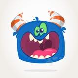 Blaues schreiendes Monster der verärgerten Karikatur Schreien des verärgerten Monsterausdrucks Glückliches Halloween Stockbilder
