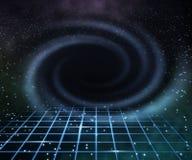 Blaues schwarzes Loch im Platz-Hintergrund Stockbilder