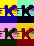 Blaues schwarzes und rotes k aber als ein k-Buchstabe hinter k gelb andere Farben lizenzfreie stockfotos