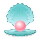 Blaues Shell mit rosafarbener Perle Lizenzfreies Stockbild