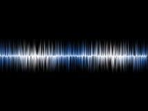 Blaues silbernes Soundwave mit schwarzem Hintergrund stockbild