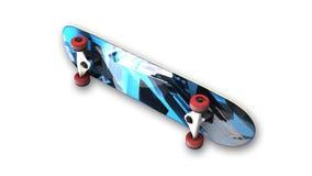 Blaues Skateboard, Sportausrüstung auf weißem Hintergrund, Ansicht von unten Stockbild