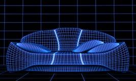Blaues Sofa auf einem schwarzen Hintergrund Stockfotografie