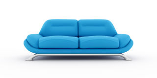 Blaues Sofa auf weißem Hintergrund Stockfotografie