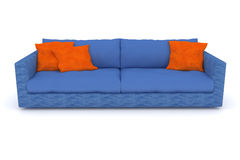Blaues Sofa mit orange Kissen Lizenzfreies Stockfoto