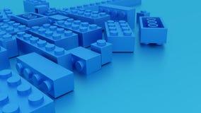 Blaues Spielwaren lego Plastikziegelsteine stock abbildung