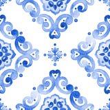 Blaues Spitzemuster des Aquarells Lizenzfreie Stockfotos
