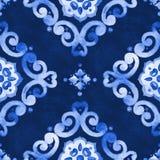 Blaues Spitzemuster des Aquarells Stockfoto
