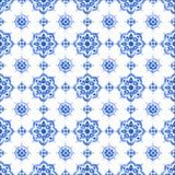 Blaues Spitzemuster des Aquarells Stockfotos