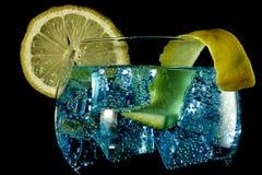 Blaues Stärkungsmittel des Gins mit lemmon II lizenzfreies stockbild