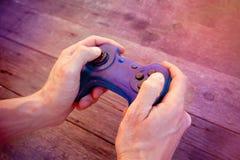 Blaues Steuerknüppel gamepad, Spielkonsole stockbilder