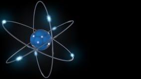 Blaues stilisiertes Atom und Elektronen Wiedergabe 3d Lizenzfreies Stockfoto