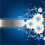 Blaues stilvolles Blumenfeld Lizenzfreie Stockfotografie