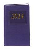 Blaues Tagebuch oder Zeitschrift 2014 - zwei tausend und vierzehn, lokalisiert Stockfotos