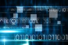 Blaues Technologiedesign mit binär Code Stockfotos