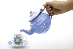 Blaues Teecup und -kessel Stockbilder