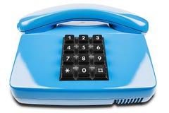 Blaues Telefon mit Schatten auf lokalisiertem weißem Hintergrund Stockfotos
