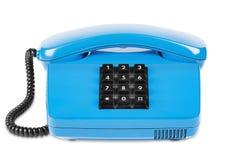 Blaues Telefon mit Schatten auf lokalisiertem weißem Hintergrund Lizenzfreies Stockbild