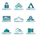 Blaues umweltgerechtes Haus modern und Butikenlogovektorbühnenbild lizenzfreie abbildung