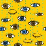 Blaues und braunes schreiendes Augengekritzelmuster Stockfoto