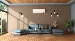 Blaues und braunes Wohnzimmer mit Klimaanlage Stockfotos