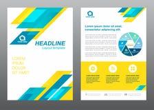 Blaues und gelbes Streifen Vektordesign des Deckblatts der Planfliegerschablonengröße A4 Stockbilder
