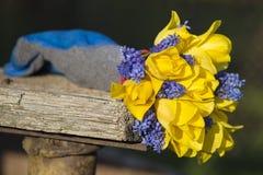 Blaues und gelbes Tandem in einem Blumenstrauß Lizenzfreie Stockbilder