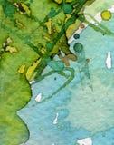 Blaues und grünes Aquarell Stockfoto