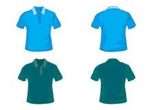 Blaues und grünes Polohemd Stockfotos