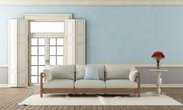 Blaues und graues klassisches Wohnzimmer Stockbild