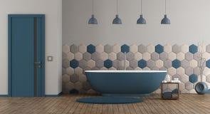 Blaues und graues modernes Badezimmer lizenzfreie abbildung