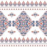 Blaues und orange nahtloses Muster mit dekorativen Streifen vektor abbildung