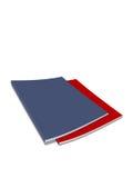 Blaues und rotes Journal Stockfotos