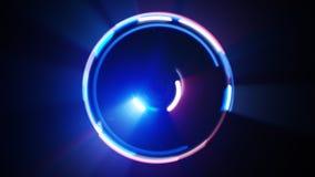 Blaues und rotes Licht kreist die lange lightpainting Belichtung ein Stockfotos