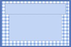 Blaues und weißes Baby-Feld für Ihre Mitteilung oder Einladung Stockbild