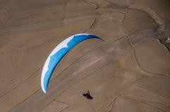 Blaues und weißes Gleitschirmpilotfliegen über den Feldern Lizenzfreies Stockbild