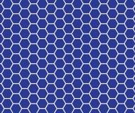 Blaues und weißes Hexagonbienenwabenmuster Lizenzfreies Stockfoto